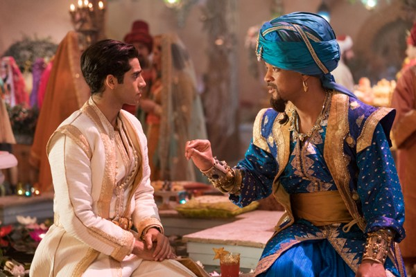 Genie encourages Prince Ali in Aladdin 2019 movie
