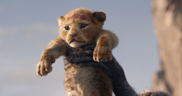 The Lion King 2019 Baby Simba held by Rafiki