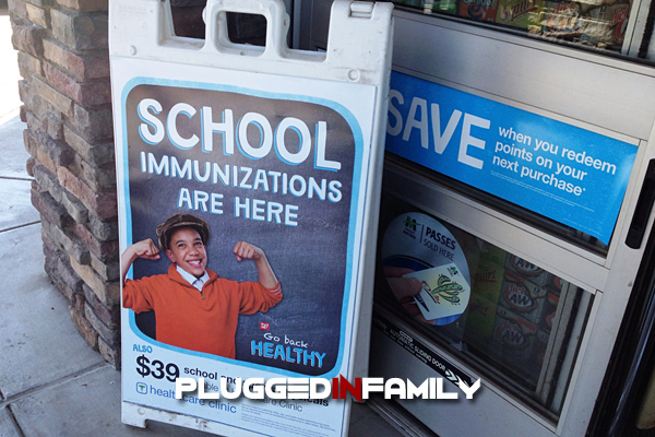 Walgreens Healthcare Clinic back to school immunizations sign